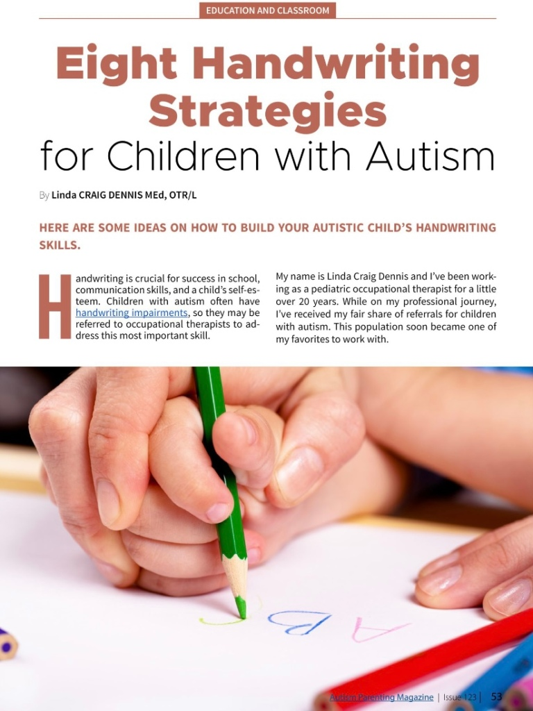 Eight Handwriting Strategies for Children With Autism