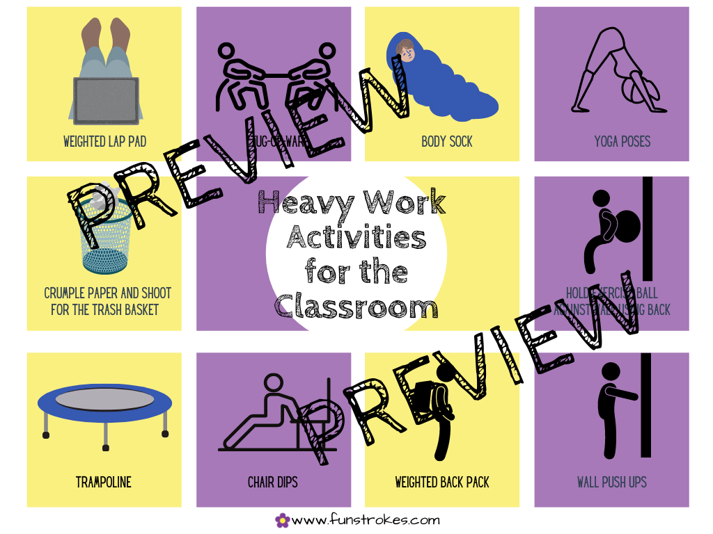 Heavy Work Activities Choice Board For the Classroom